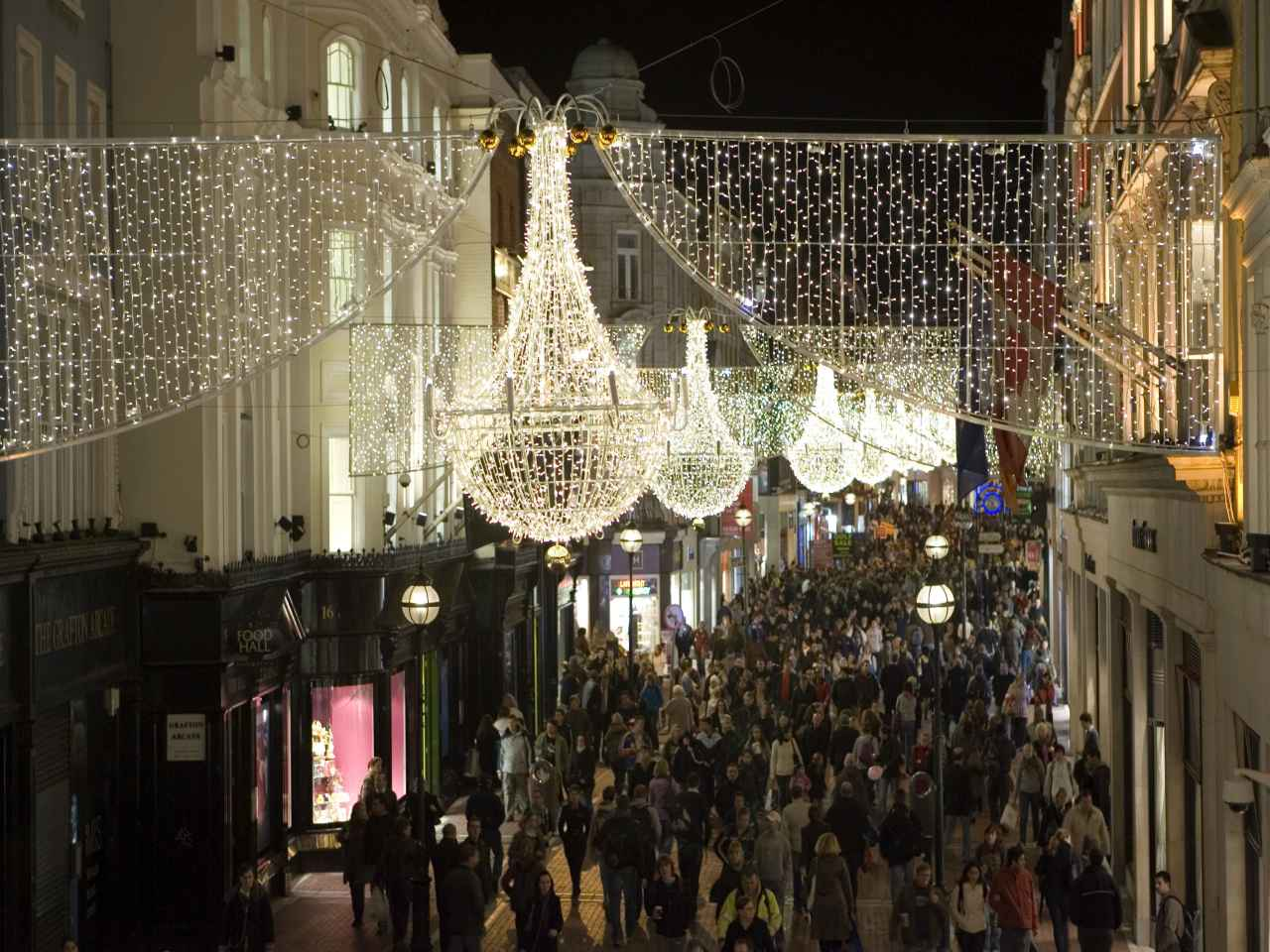 Grafton Street bustling with Christmas Shoppers, seen from a height, landscape