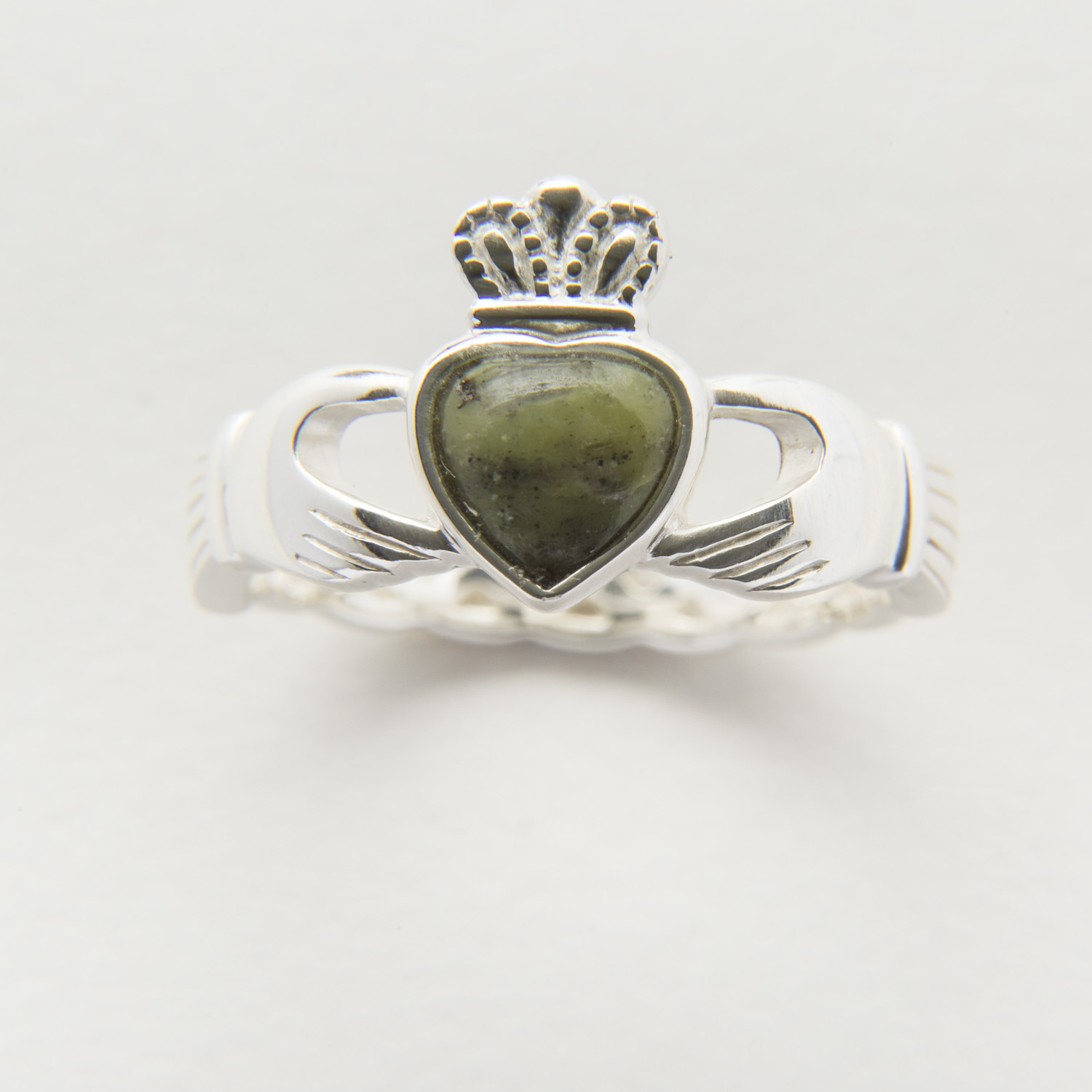 Sterling Silver Connemara Marble Celtic Claddagh Ring