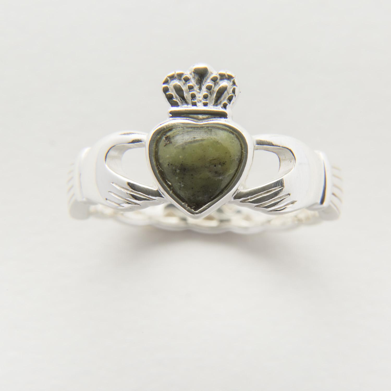 Connemara marble Claddagh ring