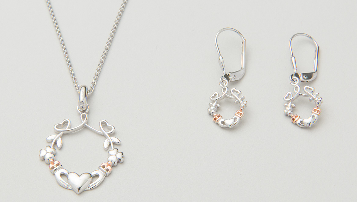 Claddagh earrings & pendant set