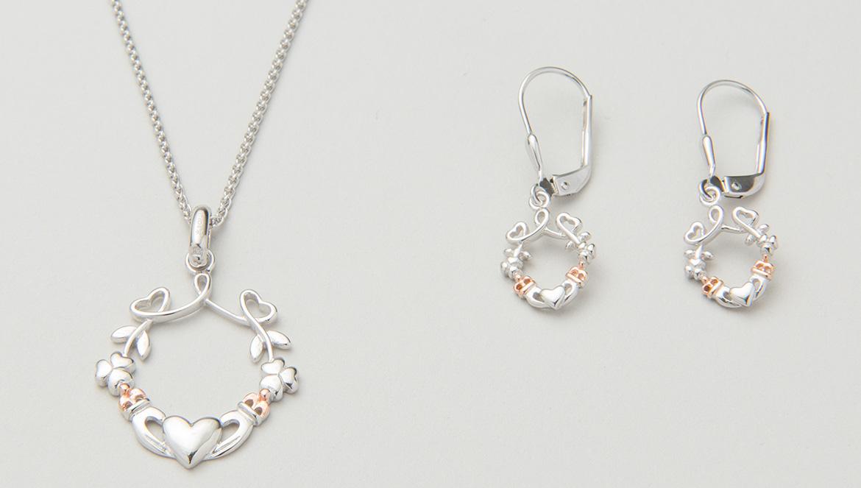 Claddagh earrings & pendant set