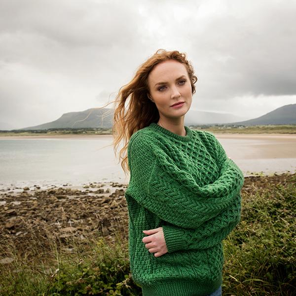 b89b3113f Womens Traditional Aran Sweater Made of 100% Merino Wool from Ireland