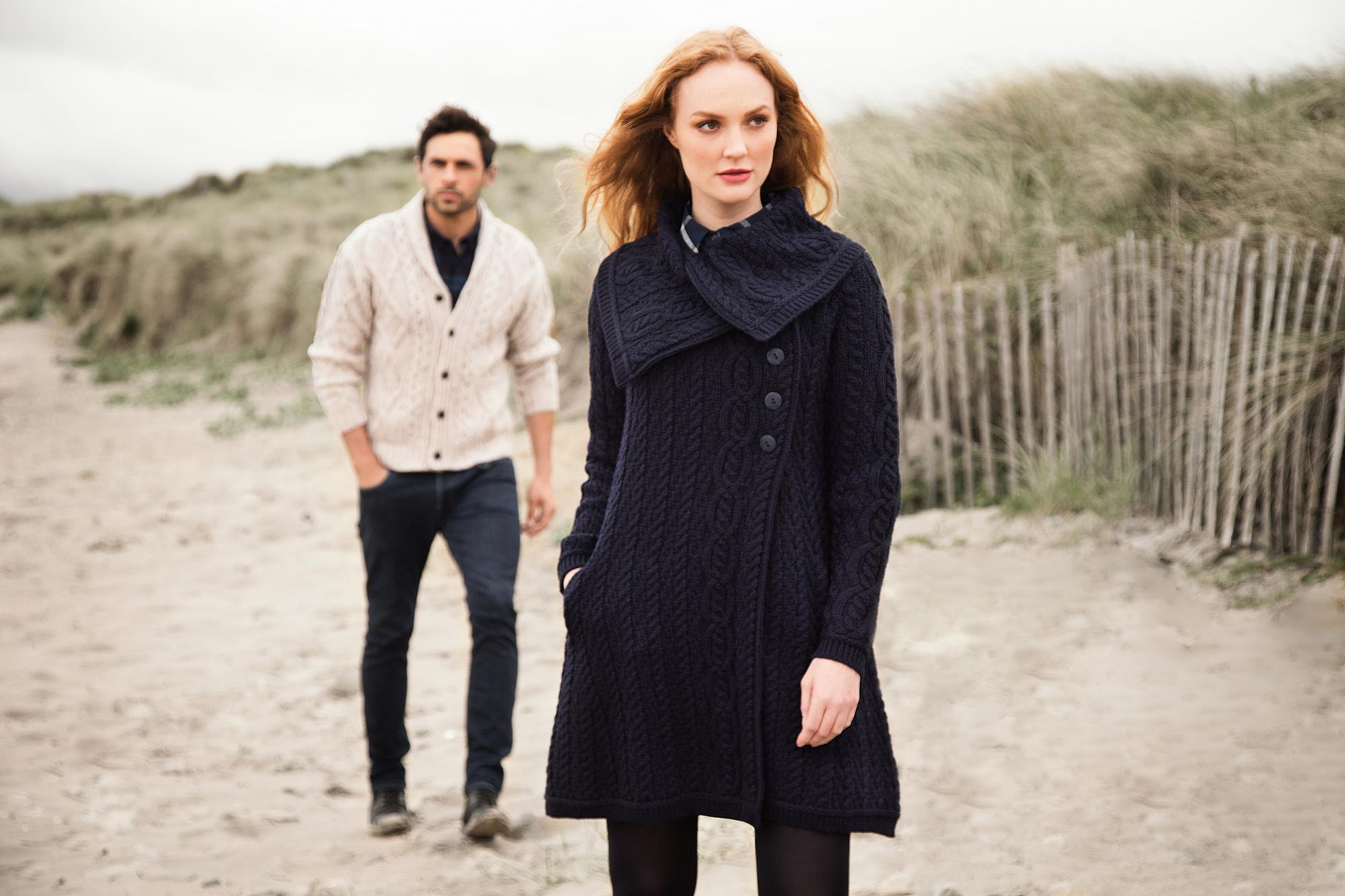 wide collared sweater coat