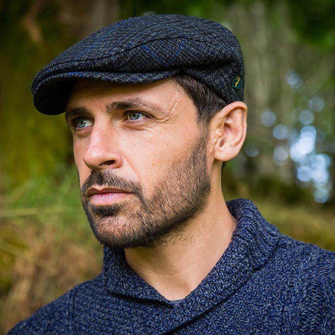 blue gray flat cap