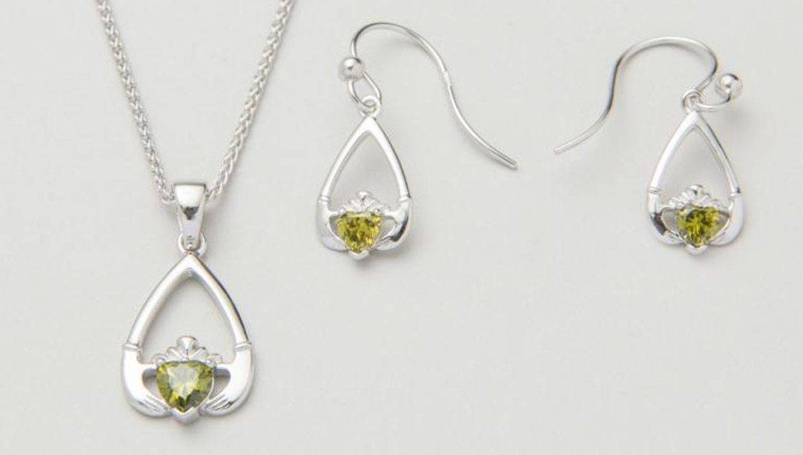 Birthstone Claddagh jewelry set
