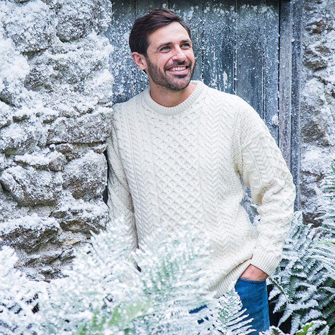 Traditional Aran sweater for him