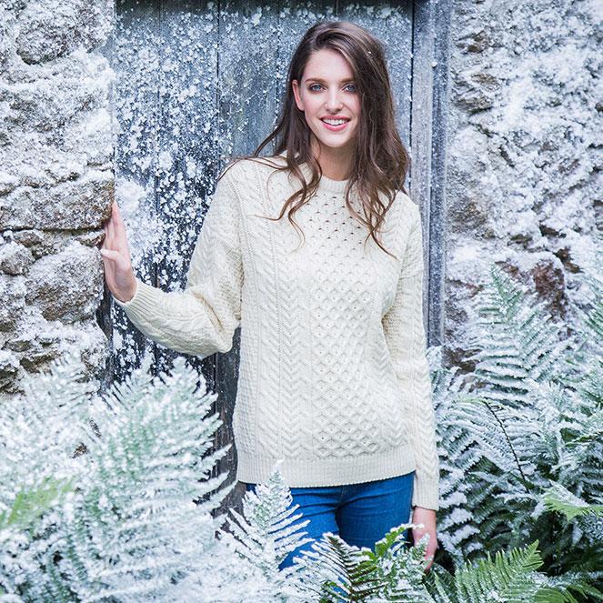 Ladies Traditional Aran Sweater