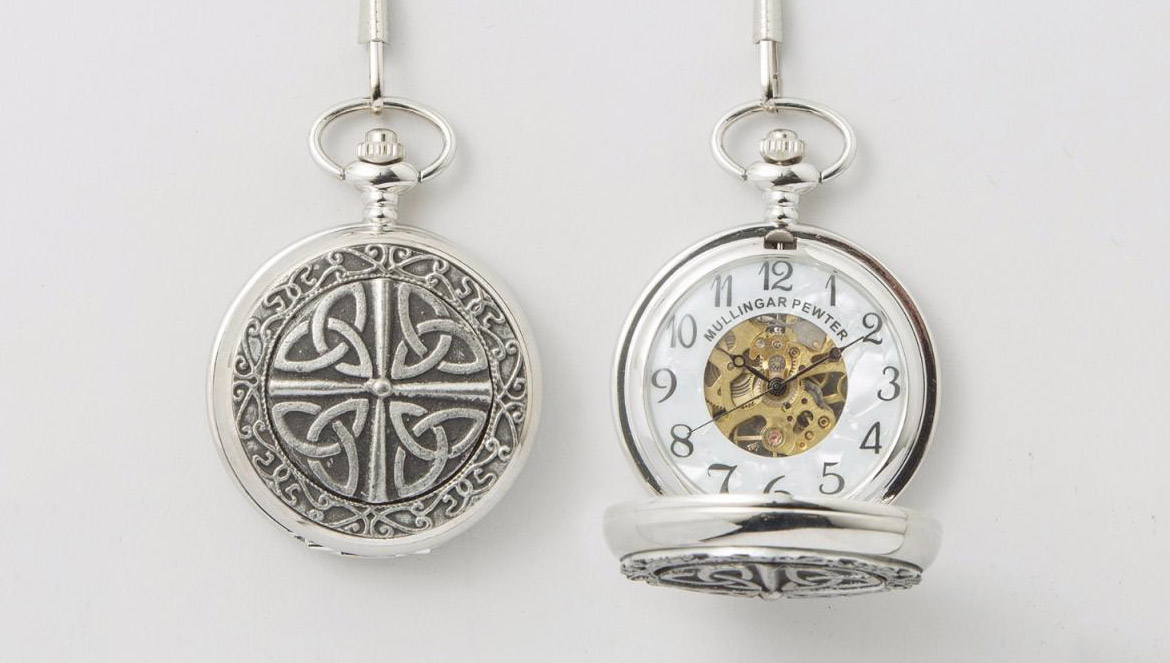 Peronalized pewter pocket watch