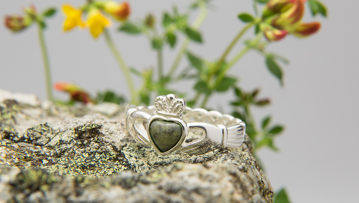 Connemara Marble Claddagh ring