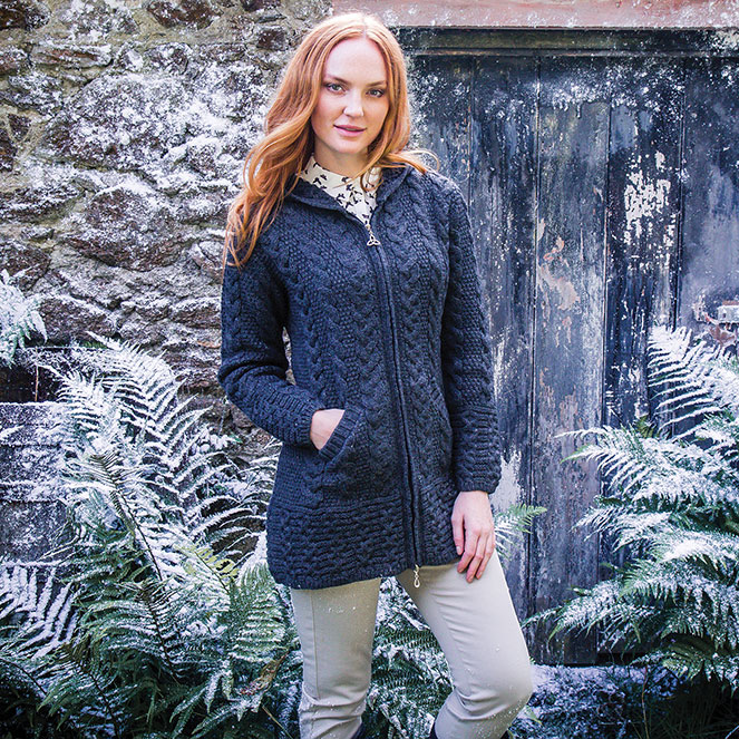 Hooded Aran Zipper Cardigan