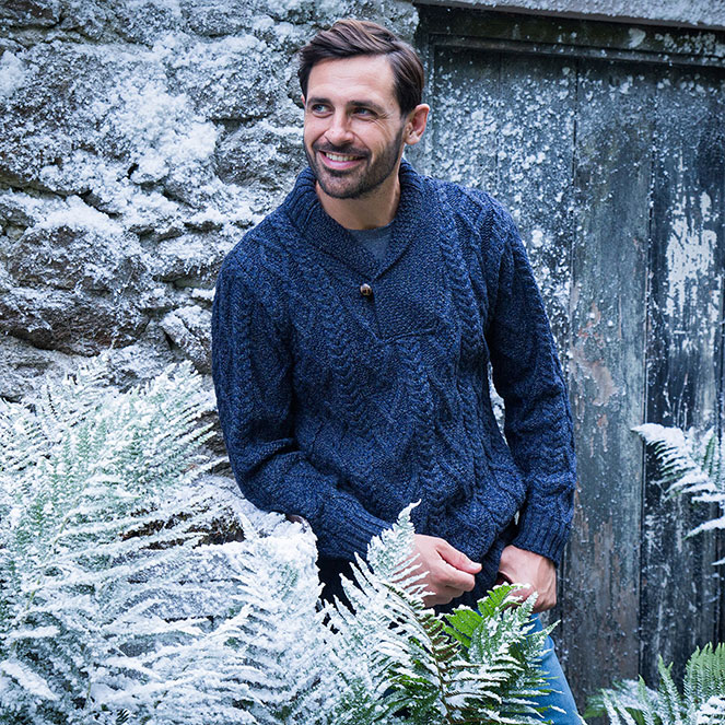 One button Aran sweater