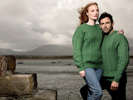 Traditional green Aran sweater St . Patrick's Day
