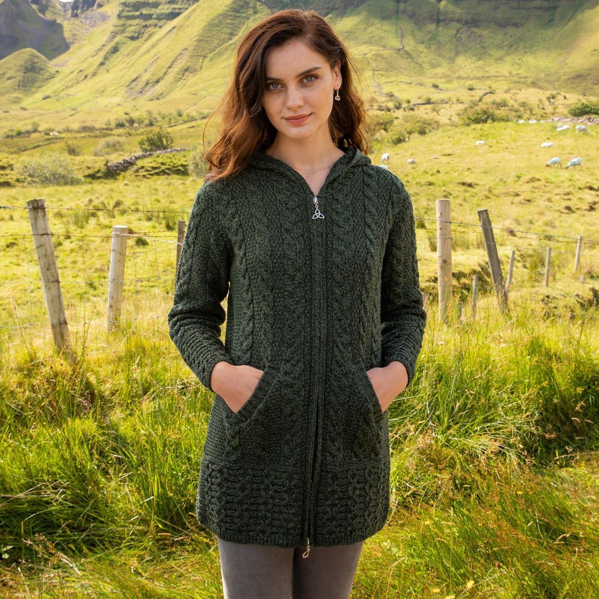 Green Aran zipper coat