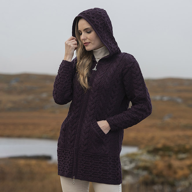 Damson Hooded Zipper Coat