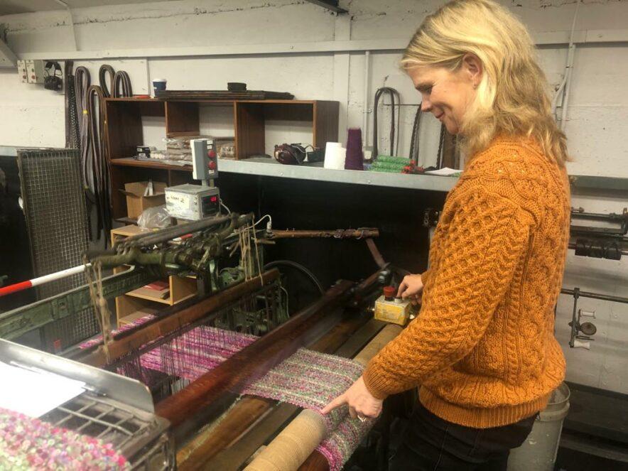 Lulu weaving at Mucros Weavers