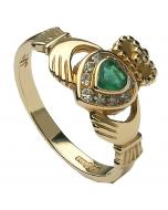 18K Claddagh Diamond & Emerald Engagement Ring