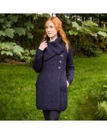 Ladies Aran Wide Collared Button Coat