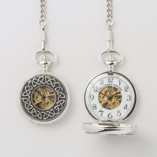 Personalized Celtic Trinity Mechanical Pocket Watch