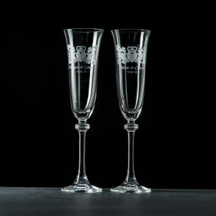 Personalised GC Claddagh Liberty Champagne Flutes Pair