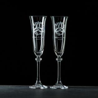 Personalised GC Trinity Knot Liberty Champagne Flutes Pair