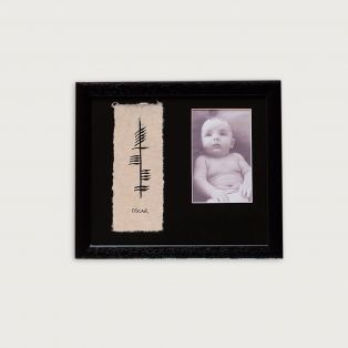 Ogham Hand Painted Baby Name and Photo