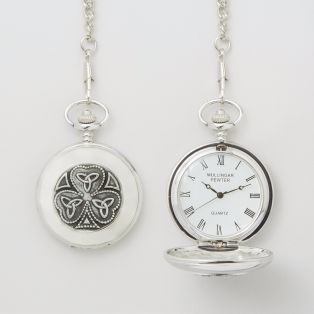 Mullingar Pewter Shamrock Trinity Pocket Watch