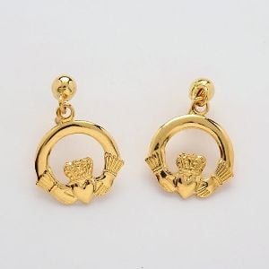10k Gold Claddagh Drop Earrings