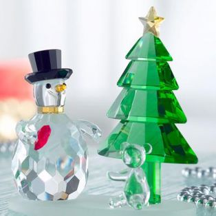 Galway Crystal Magic Snowman and Green Tree