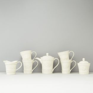 Belleek Claddagh Tea Set - Mugs(4), Pot, Jug, Bowl