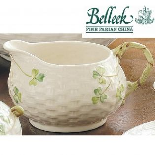 Belleek Irish Pottery Shamrock Cream Jug