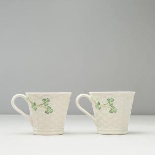 Belleek Shamrock Set of Two Mugs