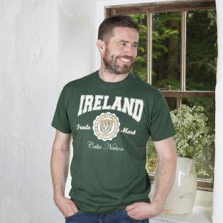 Bottle Green Mens Ireland Crest Classic Tshirt