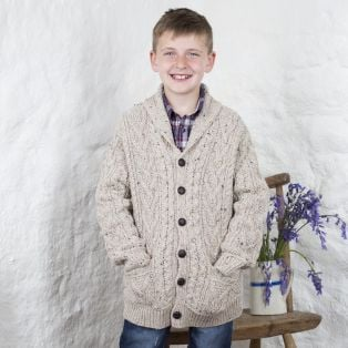 Boys Aran Shawl Collar Button Cardigan