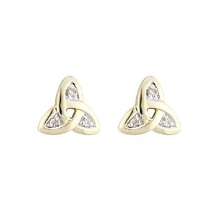 Celtic 14k Real Diamond Trinity Knot Earring