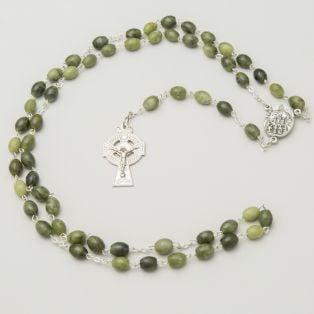 Connemara Marble Celtic Cross Rosary Beads
