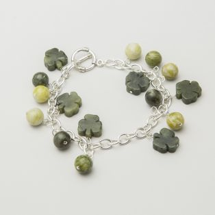 Connemara Marble Shamrock Bead Bracelet