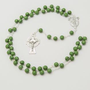 Connemara Marble Shamrock Rosary Beads