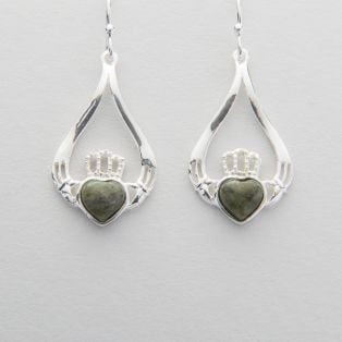 Connemara Marble Silver Claddagh Drop Earrings