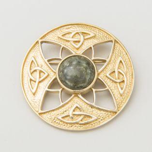 Connemara Marble Trinity Knot Brooch