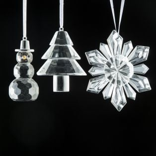 Galway Crystal Set Of 3 Hanging Ornaments