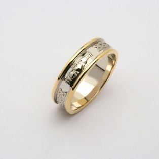 Gents 14K Gold Corrib Claddagh Wedding Band