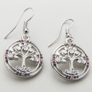 Irish Crystal Tree Of Life Earrings