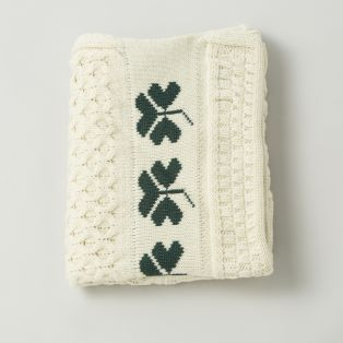 Irish Wool Shamrock Baby Blanket