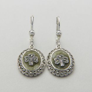 Marcasite Shamrock Marble Earrings