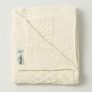 Merino Wool Cream Patchwork Blanket