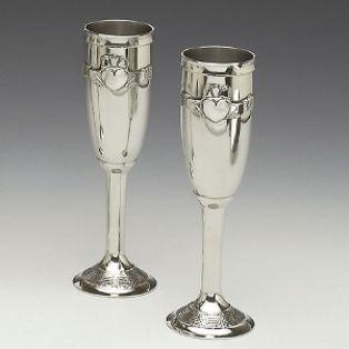 Mullingar Pewter Claddagh Champagne Flute Set