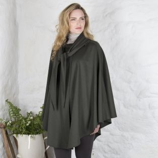 Olive Green & Red Single Faced Cape