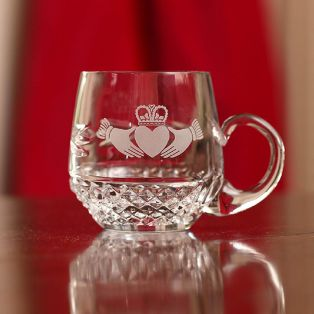 Personalized Galway Crystal Claddagh Christening Mug