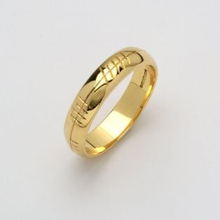 Personalized Gents 14K Gold Ogham Wedding Band