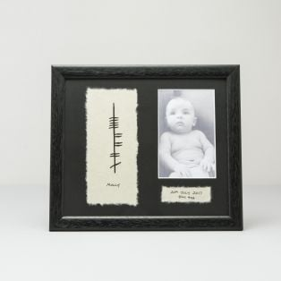 Personalized Ogham Baby Birthday Photo Frame
